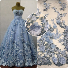 2017 wedding 3d flower lace embroidered fabric french tulle lace 3d lace fabric beads bridal HY0629