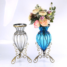YG 2311 classical european style home decor floor wrought wire big tall glass water vase