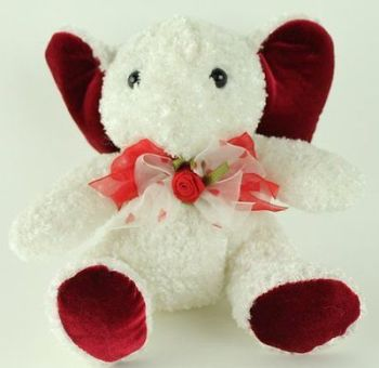 White Red plush valentine elephant