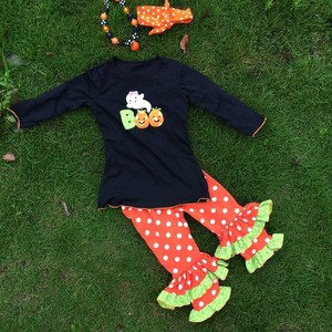 children's autumn cotton clothes halloween outfit wholesale remake polka dot clothes suit sets fall children clothing