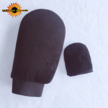 Faked Bake Sunless Two Side Microfiber Self Tanning Mitt Applicator With Mini Face Tanning Mitt