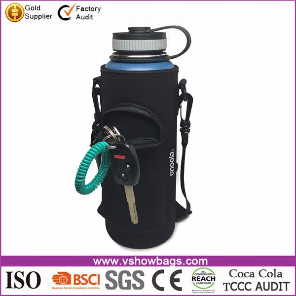 Travel Hiking Camping Neoprene Water Bottle Carrier Bag with Adjustable Shoulder Strap