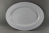 39.5x29cm White Crockery Melamine Oval Plates For Hotel