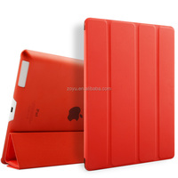 rose red color wallet ultra thin for ipad, back cover case for ipad
