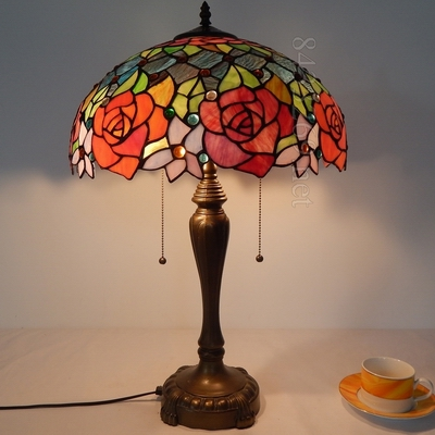 16 inch tiffany modern table <strong>lamp</strong> with rose shade support wholesale products 16S0-84LT246