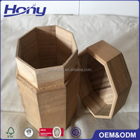 Alibaba Gold Supplier Antique Brown Small Custom Octagonal Wood Packaging Gift Box