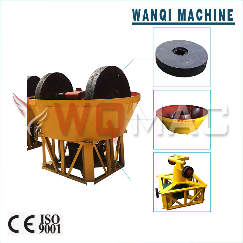 Wanqi YM-1300 Industrial Gold Washing Machine Wet Pan Mill Price Advantaged Minging Equipment