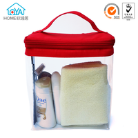 Eco friendly EVA Red top plastic cosmetic pouch bag with handle