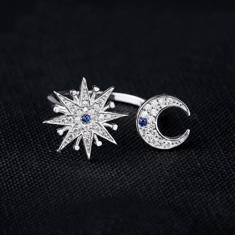 925 Sterling Silver Micro Paved White Zircon Crescent Moon and sun Open Ring