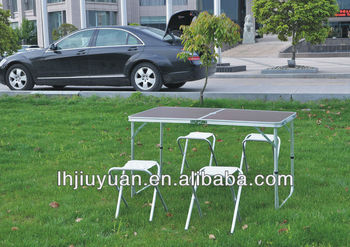 hot factory product outdoor aluminum picnic folding table with 4 chairs