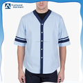 OEM men half sleeve contrast band baseball t shirt/custom v neck button baseball t shirt