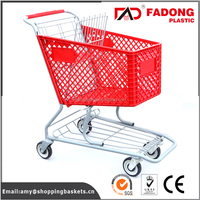 Folding plastic grocery shopping carts with chair with metal stand in colorful styles