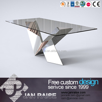 Dining room table dining set glass top stainless steel dining table set
