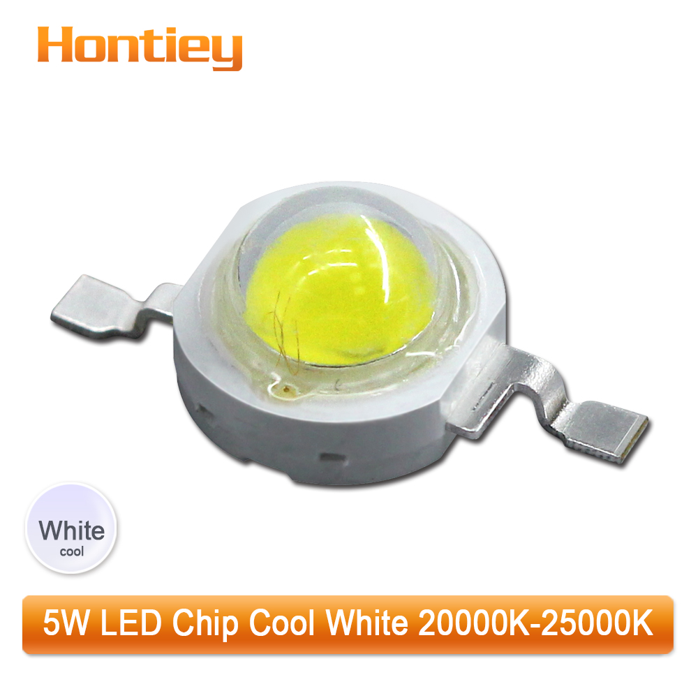 100pcs1set High Power LED Chip 5watt Cool Cold White 20000K-25000K COB Lamp Beads For Floodlight Spotlight Round lens