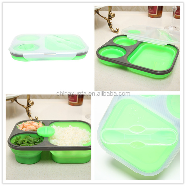 Silicone School Microwaveable Leakproof Adult Bento Lunch Box Containers 3-Compartment Japanese Lunch Box