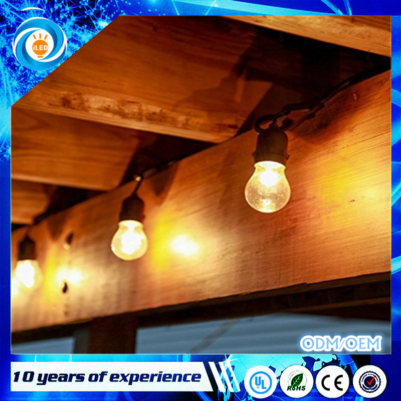 48 Foot E26 Commercial connectable outdoor incandescent light bulb patio string light Ip65 rubber led light chain