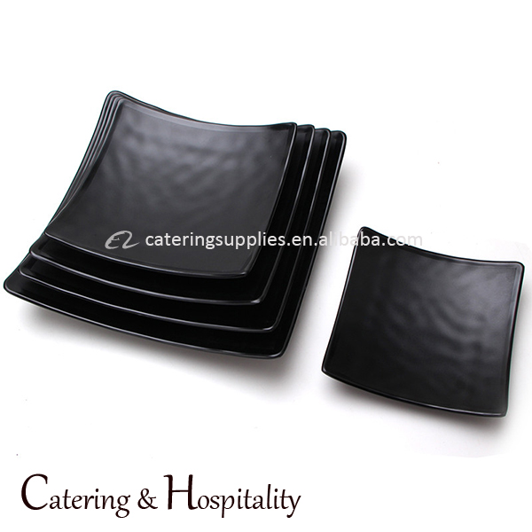 SGS certified wholesale cheap frosted square black melamine plastic dinner sushi plates dishes