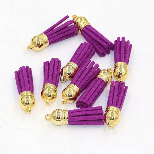 15pcs/lot Suede Tassel For Keychain Cellphone Straps Jewelry Charms,38mm Leather Tassels With Plated Gold Caps Diy Accessories