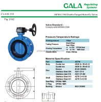 double flange butterfly valve AWWA C504 made in china tianjin