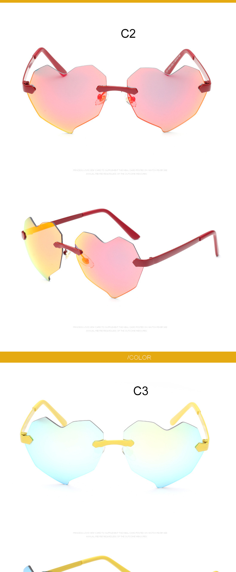 New Fashion Heart Shaped Sunglasses 2015 WOMEN Metal Reflective Lens Mirror Rimless Sun GLASSES oculos de sol CC0268