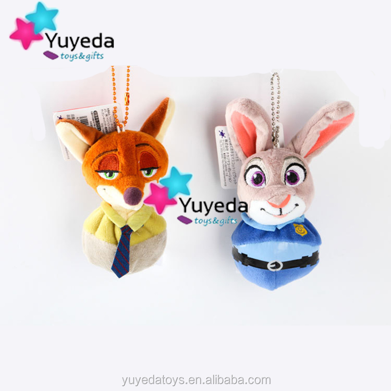 High quality zootopia Nick Wide & Judy Hopps plush keychain baby gifts