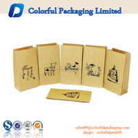 Stand up paper pouch with zipper brown paper bag flat bottom paper bag