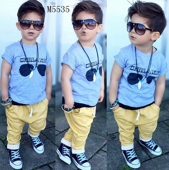 boys black glasses blue clothes and yellow trousers 2 pcs set