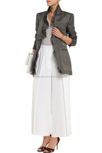 2016 New collection long sleeve grey ruffled silk-organza jacket with Padded shoulders ruffled trims