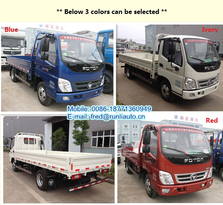 China factory supplied diesel engine Foton Aoling 4X2 2 ton small cargo truck for sale in Kazakhstan