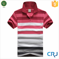 Mens slim fit striped polo t shirt with straight collar