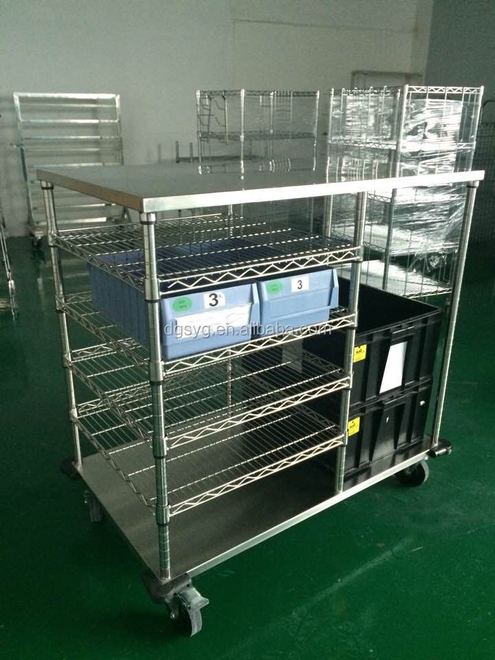 Stainless steel Wire Shelving ESD Box Cart for ESD Tray