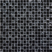 MBb1020 Black Ice Cracked Crystal Mosaic Tile