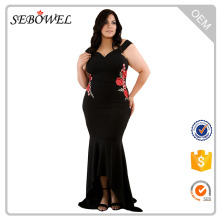 Black Plus Size Embroidery Maxi Dress Floral