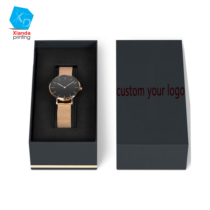 Ladies luxury custom watch packaging box design your own logo black watch cases wholesale
