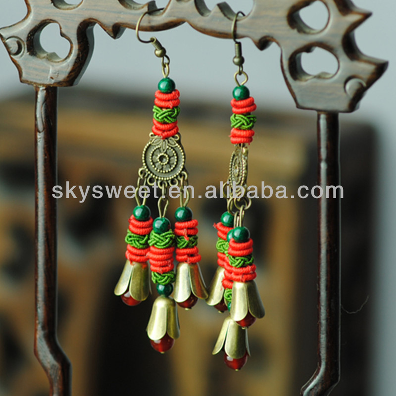 Handmade Knitting Earrings, Antique Bronze Charms Jewelry (SWTNJG1020)