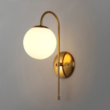 Brief modern glass ball wall lamp cafe bedroom wall sconce light indoor bedside lighting