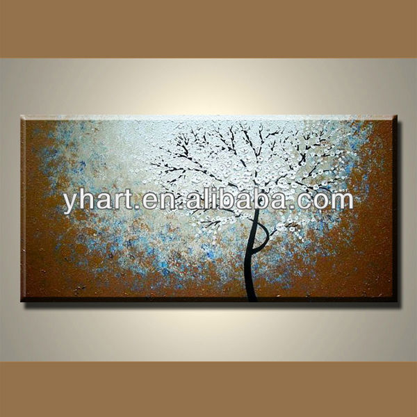white decorated Knife painting cherry blossoms art