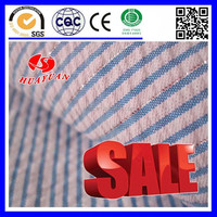 cotton Silver light blue stripe white fabric