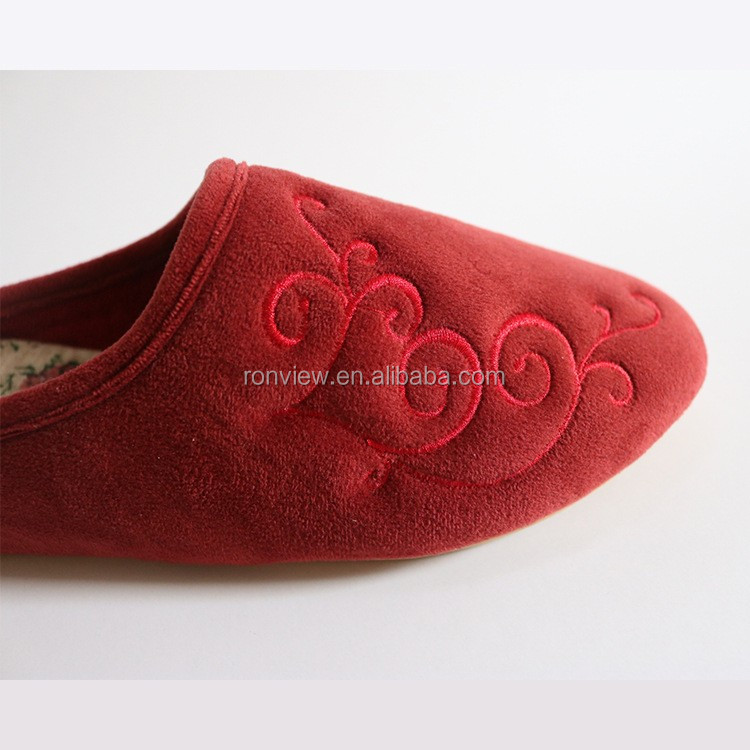 New wedge ladies embroidery plush indoor slippers