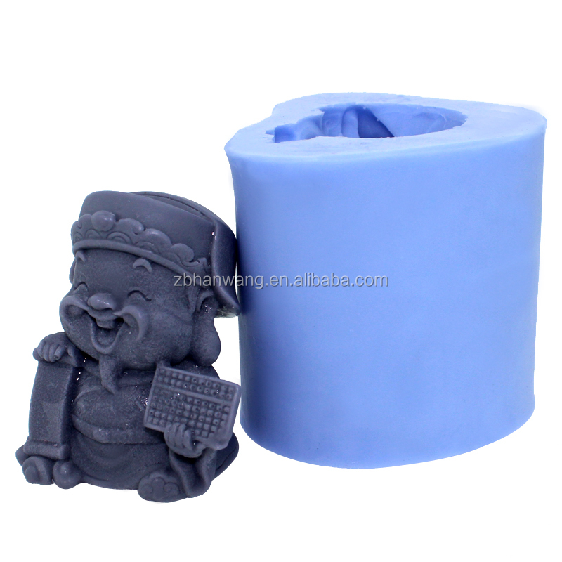 R1101 FDA customized 3D the God of Fortune Buddha shape silicone craft/candle/soap mold