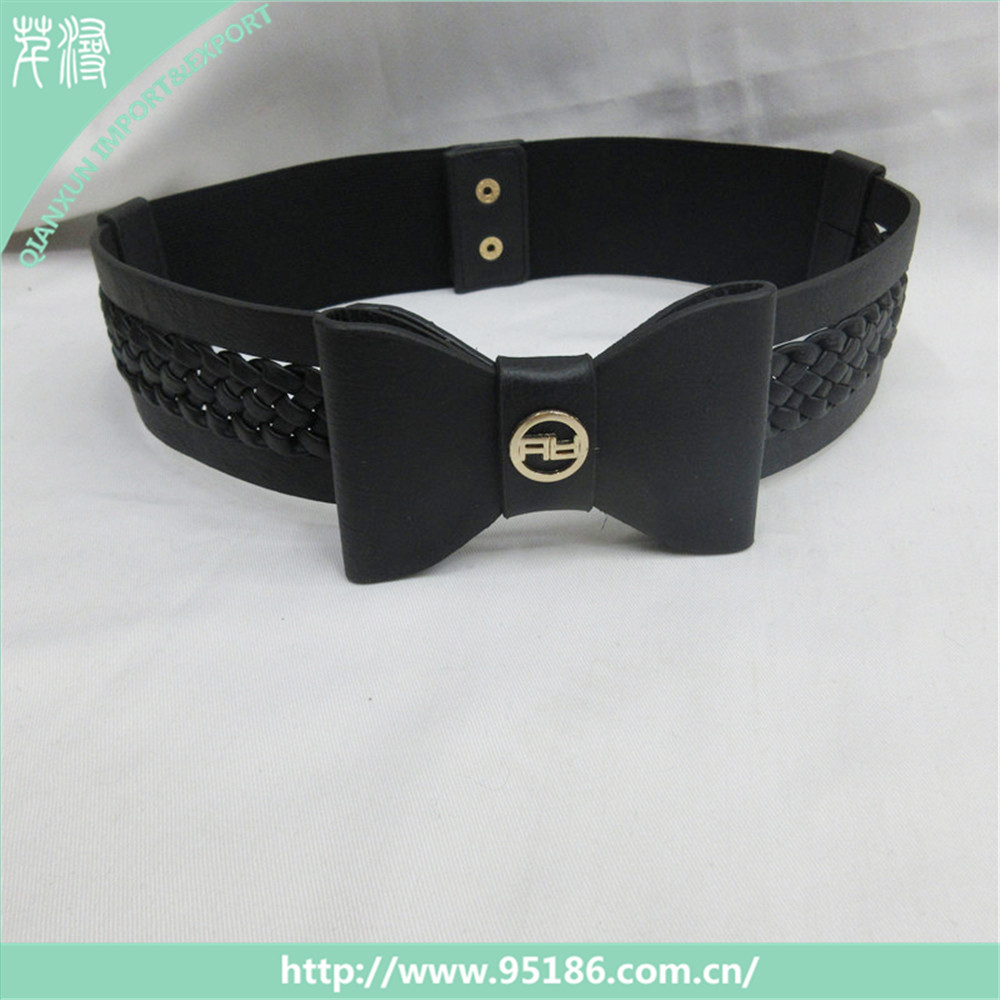 BLT-106592 Fashionable black casual dress women pu elastic belt with bowknot