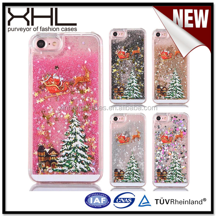 For Apple 6S Santa Christmas tree Samsung S7 flashing quicksand china cell phone case