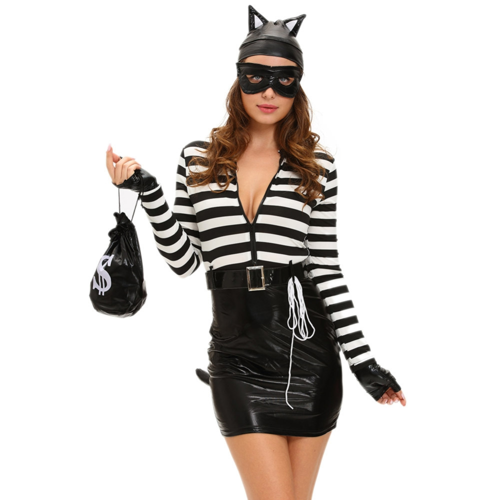Sexy Women 7 Piece Set Cat Costume Mini Dress PU Splice Stripe Zip Front Tail Cat Burglar Cosplay Halloween Suit Black