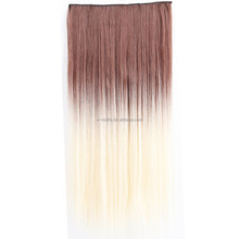 Clip In One Piece Synthetic Ombre Hair pieces Curly Hair Extension For Women