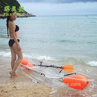 2018 summer beach tour 100% transparent/clear pc boat ocean kayak steering console boat inflatable pvc pontoons