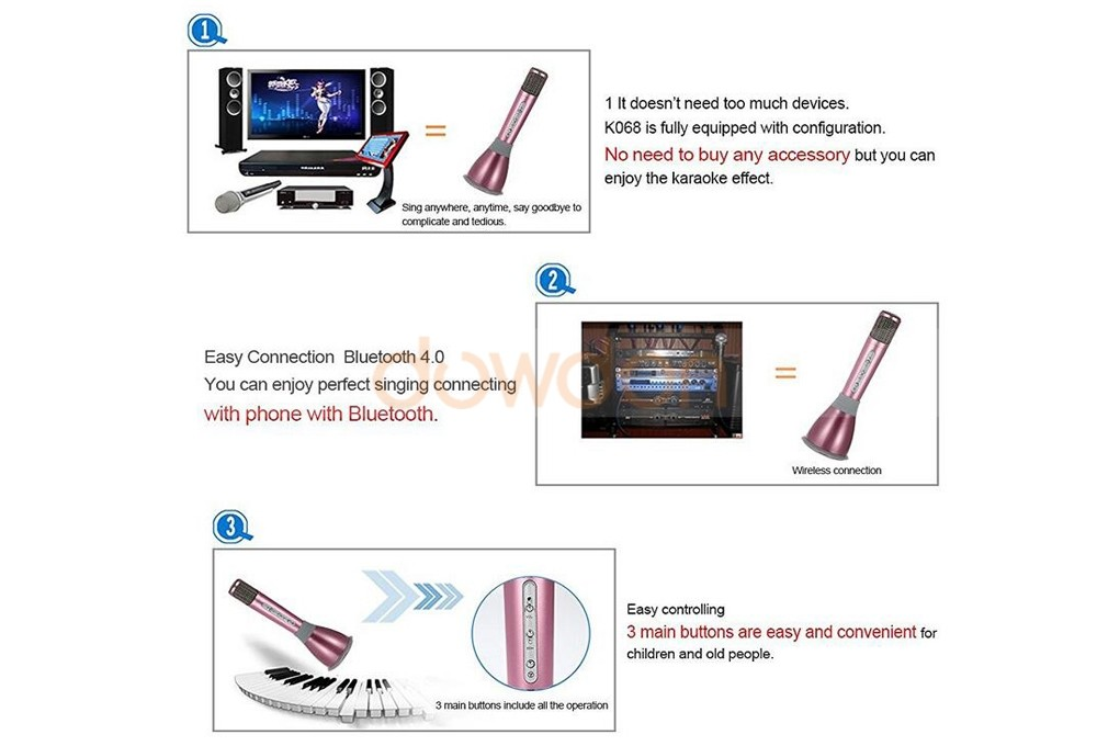 Portable Karaoke Player Wireless Bluetooth Speaker Microphone KTV Singing Record for Smart Phones