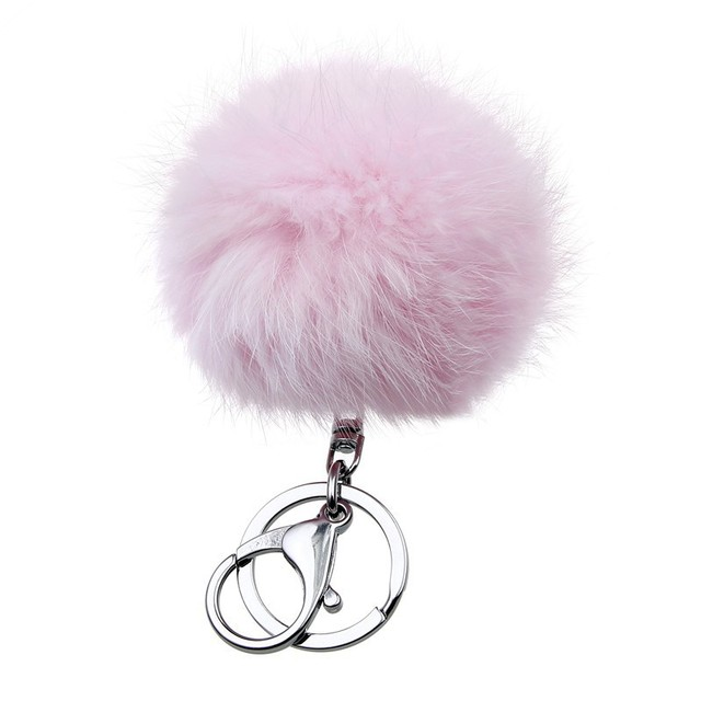 I Show Colorful Cute Genuine Leather rabbit fur ball keychain women porta chiavi Bag gift silver key chain fluffy car keychain