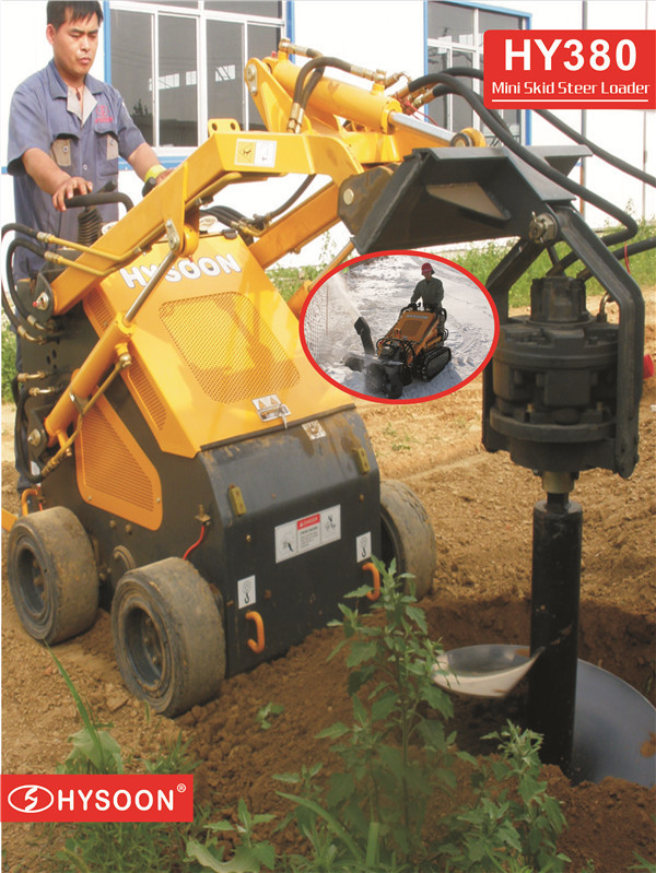 construction equipment used skid loader with earth bucket with teeth