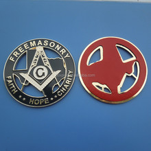 custom black enamel die cut masonic auto car badge sticker