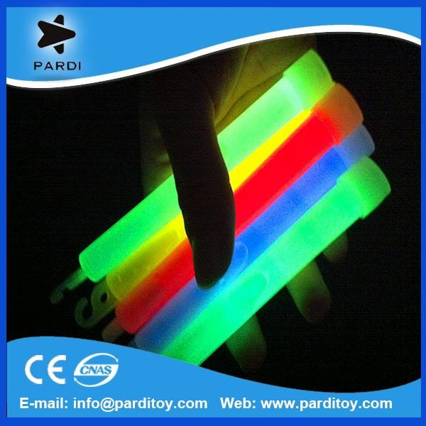 Party 6 inch glow stick with hook assorted colors bulk packing